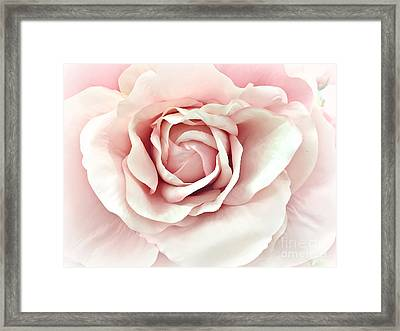 Dreamy Romantic Pastel Pink Shabby Chic Rose Closeup - Watercolor Roses  Framed Print by Kathy Fornal