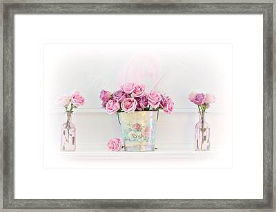 Dreamy Romantic Pink Roses -  Shabby Chic Pink Roses Still Life Framed Print by Kathy Fornal