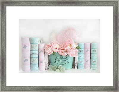 Dreamy Shabby Chic Paris Peonies Books Print - Pink Teal Peonies And Books Shabby Cottage Chic Decor Framed Print by Kathy Fornal