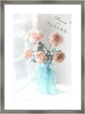 Dreamy Shabby Chic Paris Roses  - Paris French Floral Roses Teal Vase - Paris Roses French Script Framed Print by Kathy Fornal