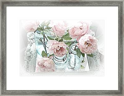 Dreamy Shabby Chic Peonies And Vintage Mason Ball Jars Romantic Cottage Floral Art Framed Print