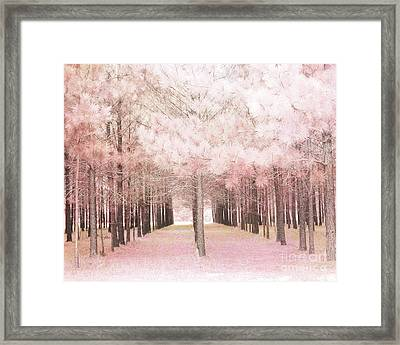 Framed Print featuring the photograph Dreamy Shabby Chic Pink Nature Pink Trees Woodlands - Pink Nature Nursery Prints Decor by Kathy Fornal