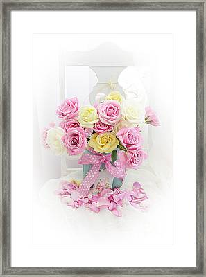 Framed Print featuring the photograph Dreamy Shabby Chic Pink Yellow Roses On White Chair - Vintage Pastel Cottage Pink Roses Home Decor by Kathy Fornal