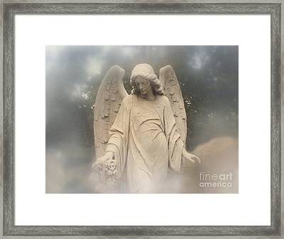 Dreamy Surreal Angel Art Fog Cemetery Framed Print
