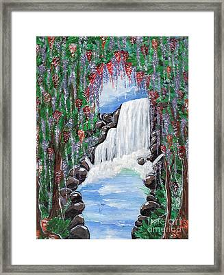 Framed Print featuring the painting Dreamy Waterfall by Saranya Haridasan