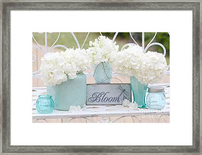 Dreamy White Hydrangeas - Shabby Chic White Hydrangeas In Aqua Blue Teal Mason Ball Jars Framed Print