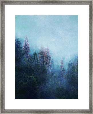 Framed Print featuring the digital art Dreamy Winter Forest by Klara Acel