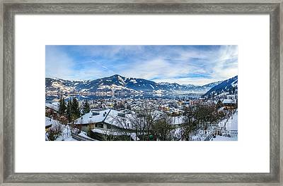 Dreamy Winter Village And Mountain Lake Framed Print