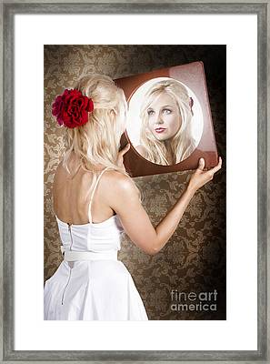 Dreamy Woman Looking At Mirror Reflection Framed Print