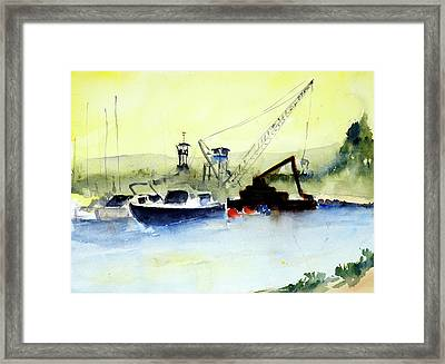 Dredging At Marin Yacht Club Framed Print