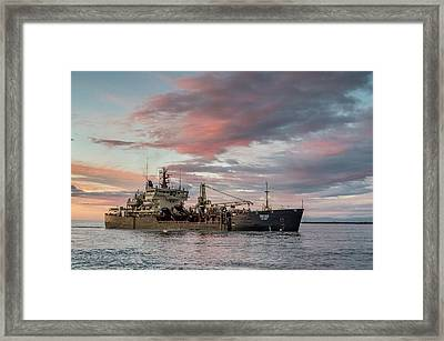 Framed Print featuring the photograph Dredging Ship by Greg Nyquist