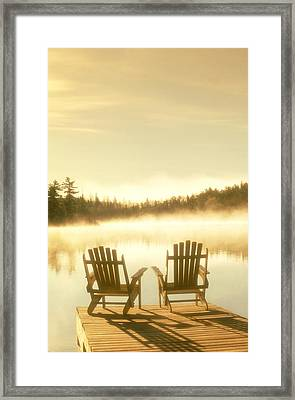 D.reede Chairs On Dock, Whiteshell Pp Framed Print by First Light