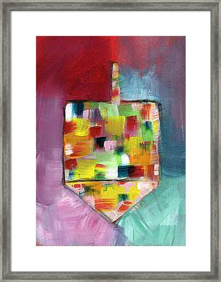 Dreidel Of Many Colors- Art By Linda Woods Framed Print