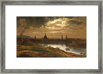 Dresden By Moonlight Framed Print by Johan Christian Dahl