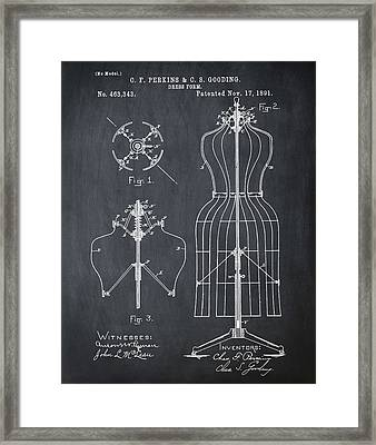 Dress Form Patent 1891 Chalk Framed Print by Bill Cannon