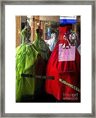 Dress Shop Passerbys Framed Print by Mexicolors Art Photography