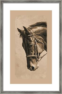 Dressage Horse Sepia Phone Case Framed Print by Crista Forest