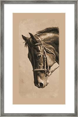 Dressage Horse Sepia Phone Case Framed Print