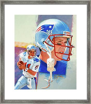 Framed Print featuring the painting Drew Bledsoe by Cliff Spohn