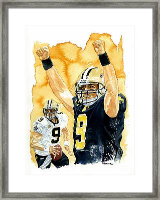Drew Brees - Champion Framed Print by George  Brooks