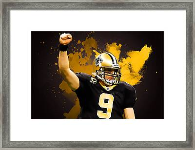 Drew Brees Framed Print by Semih Yurdabak