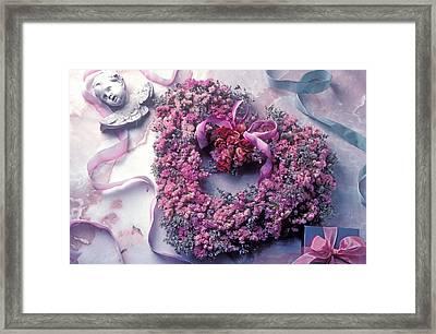 Dried Flower Heart Wreath Framed Print by Garry Gay