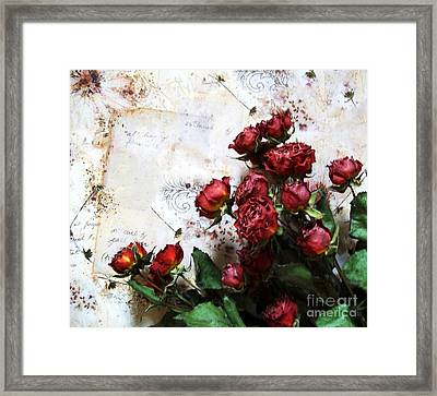 Dried Flowers Against Wallpaper Framed Print by Marsha Heiken