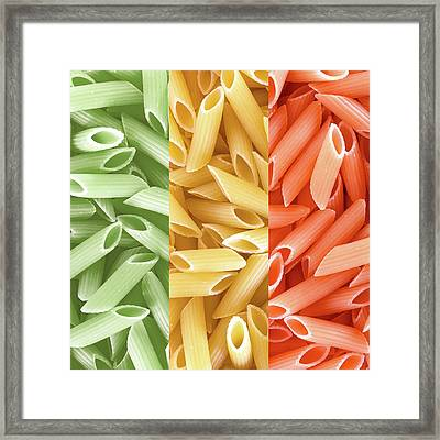 Dried Pasta In Italian Flag Colors Framed Print