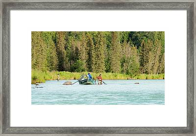 Drift Boat Fishing The Kasilof Framed Print by Edie Ann Mendenhall