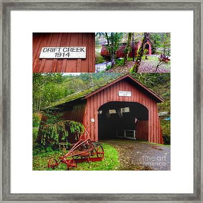 Drift Creek Covered Bridge Framed Print