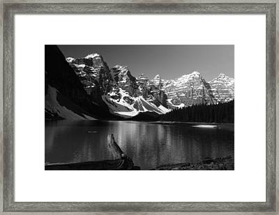 Drift Wod On Lake Moraine Framed Print