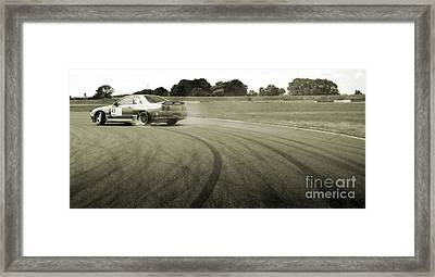 Drifting Tracks Japanese Car Drifting Round A Corner With Tyres Smoking Framed Print by Andy Smy