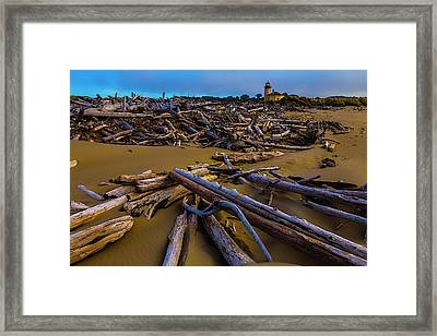 Driftwood And Coquille River Lighthouse, Framed Print by Garry Gay