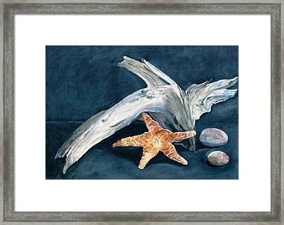 Driftwood And Starfish Framed Print