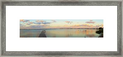 Driftwood Dock At Dusk Framed Print