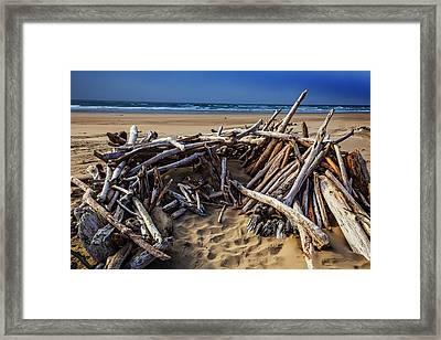 Driftwood Shelter Oregon Coast Framed Print