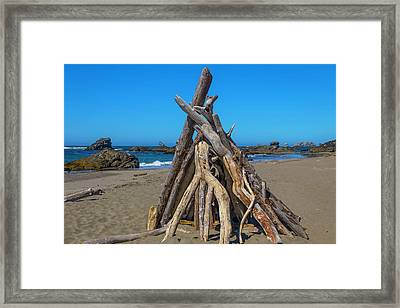 Driftwood Teepee Oregon Coast Framed Print by Garry Gay
