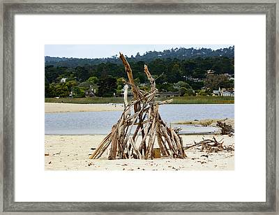 Driftwood Tipi With A View Framed Print
