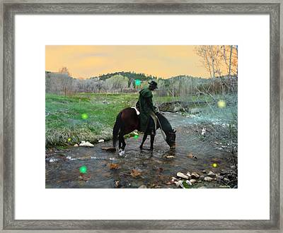 Drinking In The River Horseman Lit By Fireflies Framed Print