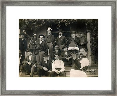 Drinking Outside Ca 1903 Framed Print by Jon Neidert