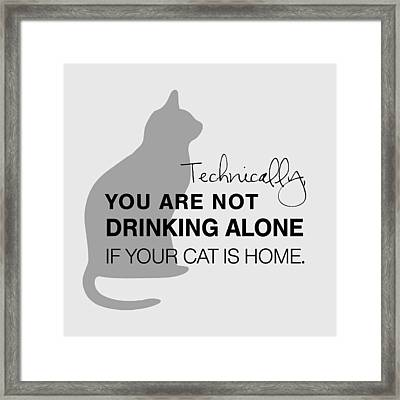 Framed Print featuring the digital art Drinking With Cats by Nancy Ingersoll