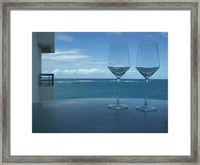 Drinks On The Terrace Framed Print by Anna Villarreal Garbis