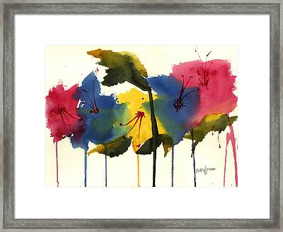 Drippy Flowers Framed Print by Mary Lomma