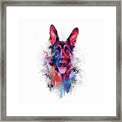 Drippy Jazzy German Shepherd Colorful Dog Art By Jai Johnson Framed Print by Jai Johnson