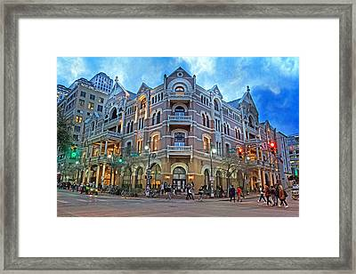 Driskill Hotel Light The Night Framed Print
