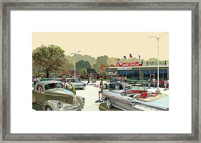 Framed Print featuring the painting Drive In Days by Michael Swanson