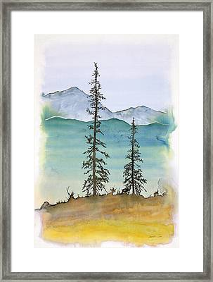 Drive To Eagle And Sketching On A Bumpy Road Framed Print by Carolyn Doe