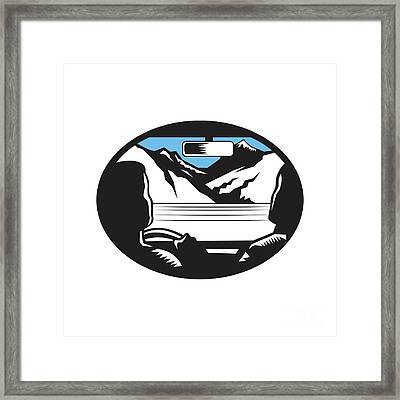 Driver Looking Up Mountain Car Windshield Oval Woodcut Framed Print by Aloysius Patrimonio