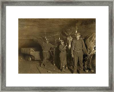 Drivers And Mules With Young Laborers Framed Print by Everett