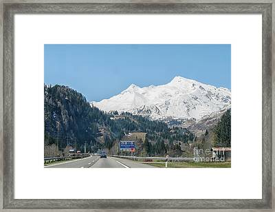 Driving In The Swiss Alps Framed Print by Patricia Hofmeester